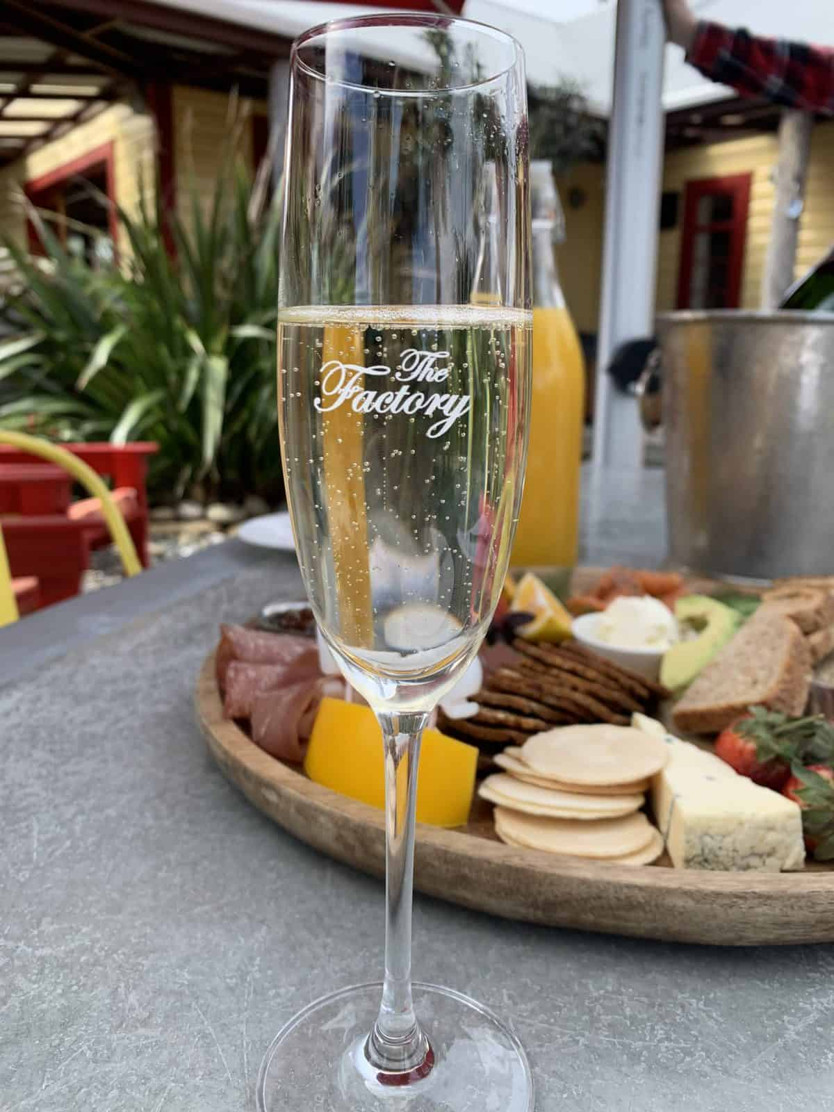 Bubbles and a platter at The Factory, Kaikoura