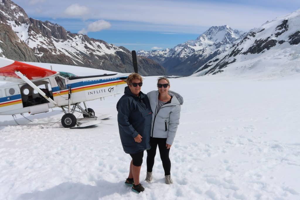Brodie and Jo on Tasman Glacier