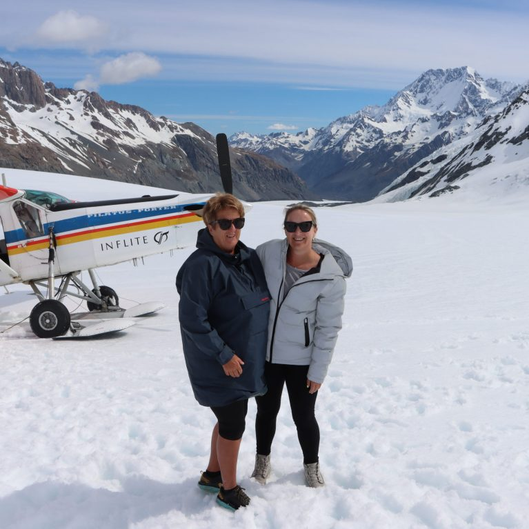 Brodie and Jo on Tasman Glacier